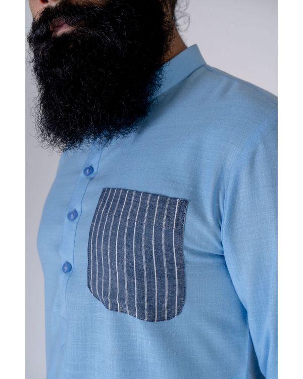 Blue patch pocket kurta 1