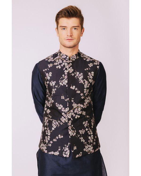 Navy blue floral printed nehru jacket 2