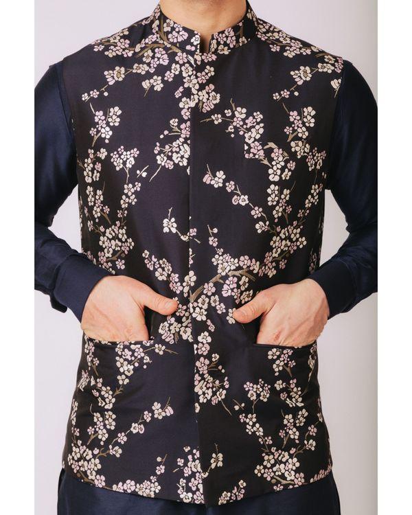 Navy blue floral printed nehru jacket 1