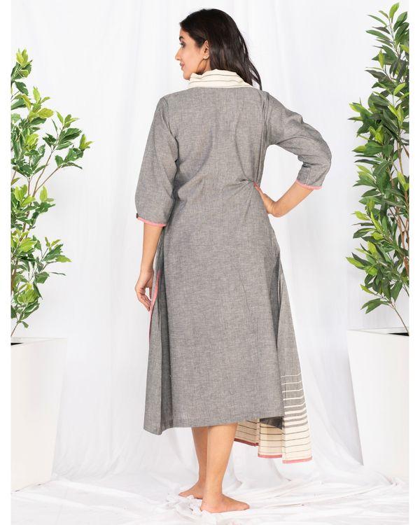 Grey asymmetrical pleated dress 3