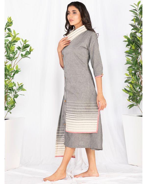Grey asymmetrical pleated dress 2