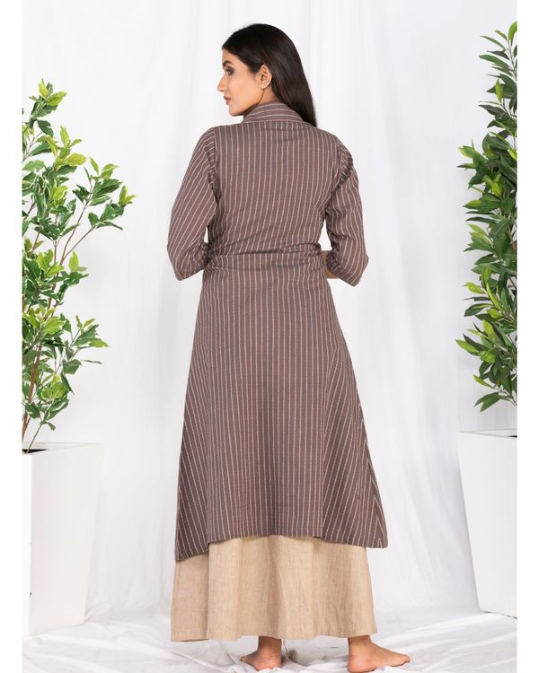 Beige and brown striped front open jacket and knotty dress- Set Of Two 5