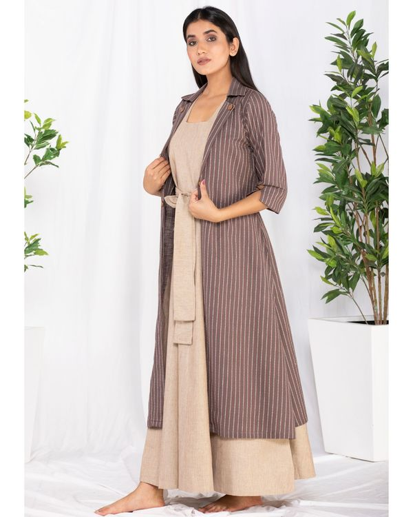 Beige and brown striped front open jacket and knotty dress- Set Of Two 3