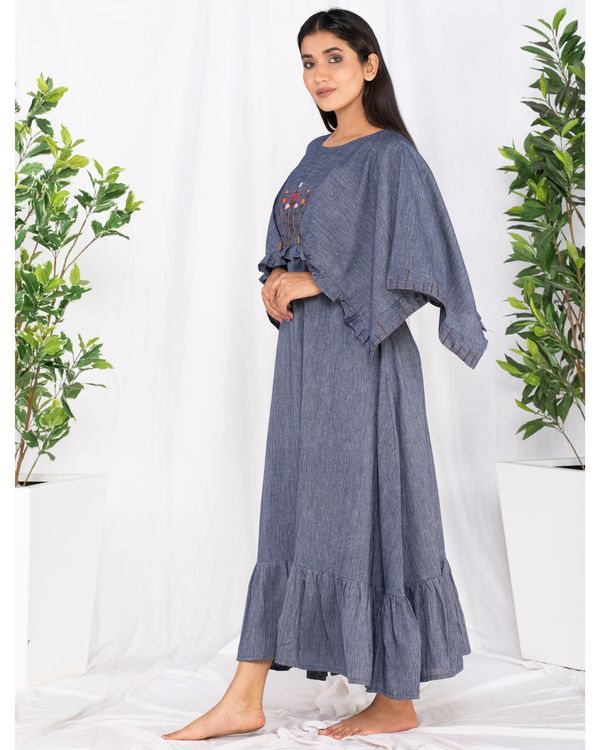 Blue forest embroidered cape dress 2