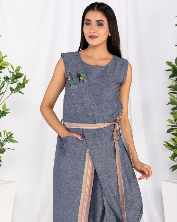 Blue embroidered drape dress with pocket 1