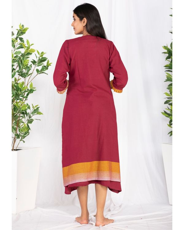 Maroon embroidered jacket and yoke dress- Set Of Two 3