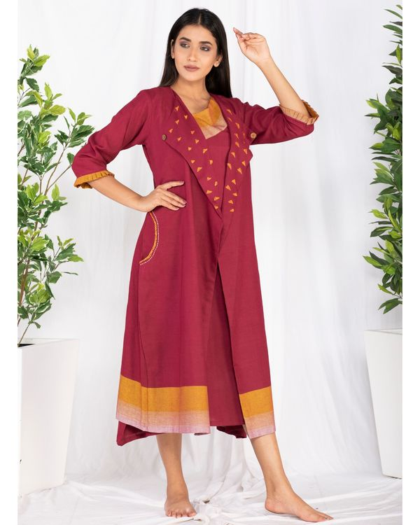 Maroon embroidered jacket and yoke dress- Set Of Two 2