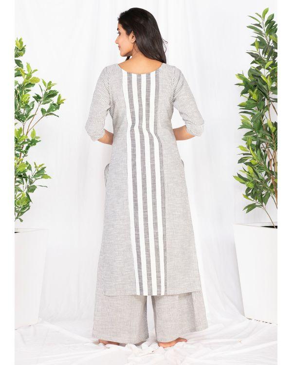 Grey and white striped kurta 3
