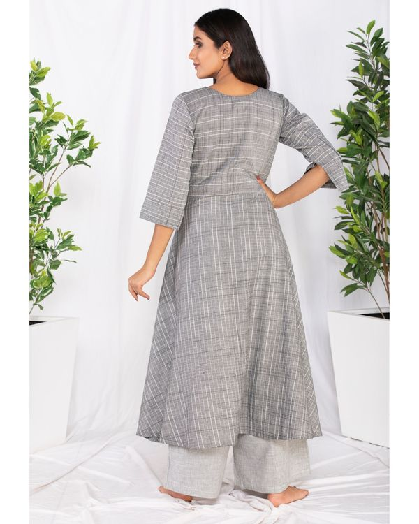 Grey buttoned kurta and palazzo set- Set Of Two 3