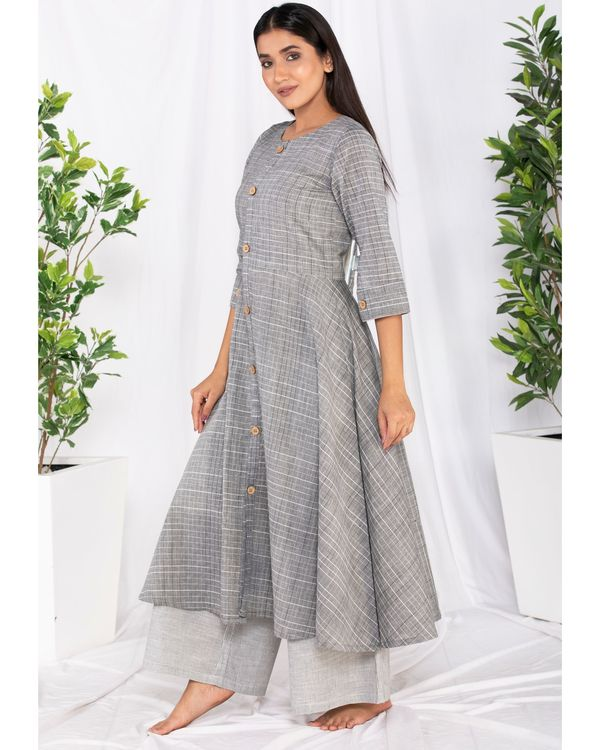 Grey buttoned kurta and palazzo set- Set Of Two 2