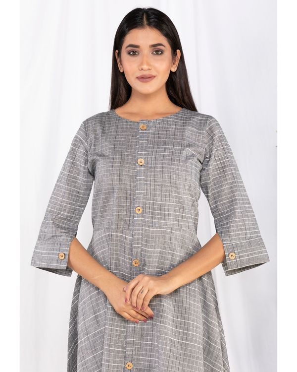 Grey buttoned kurta and palazzo set- Set Of Two 1