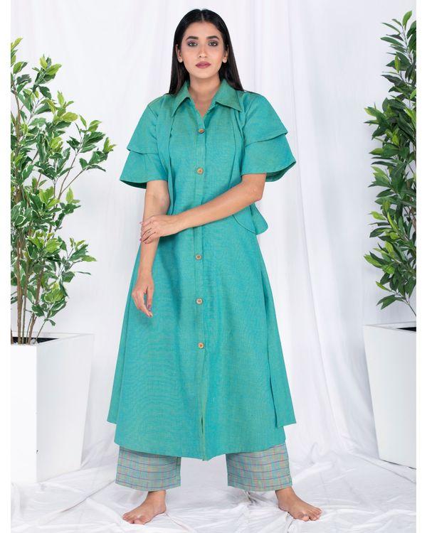 Green layered jacket kurta and palazzo set- Set Of Two 3