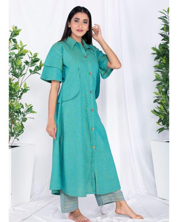 Green layered jacket kurta and palazzo set- Set Of Two 2