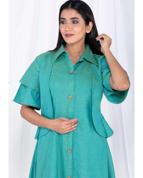 Green layered jacket kurta and palazzo set- Set Of Two 1