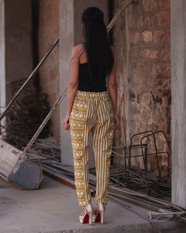 Mustard yellow striped panel pants 2
