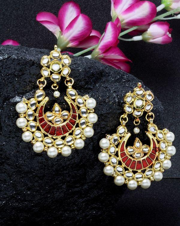 Red crescent dangler earrings 1
