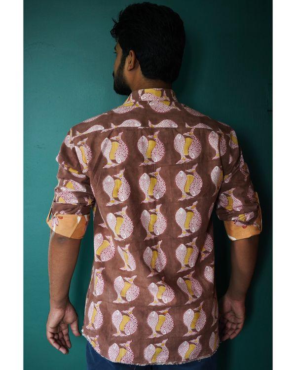Brown fish printed shirt 2