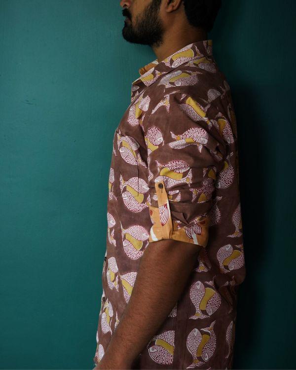 Brown fish printed shirt 1