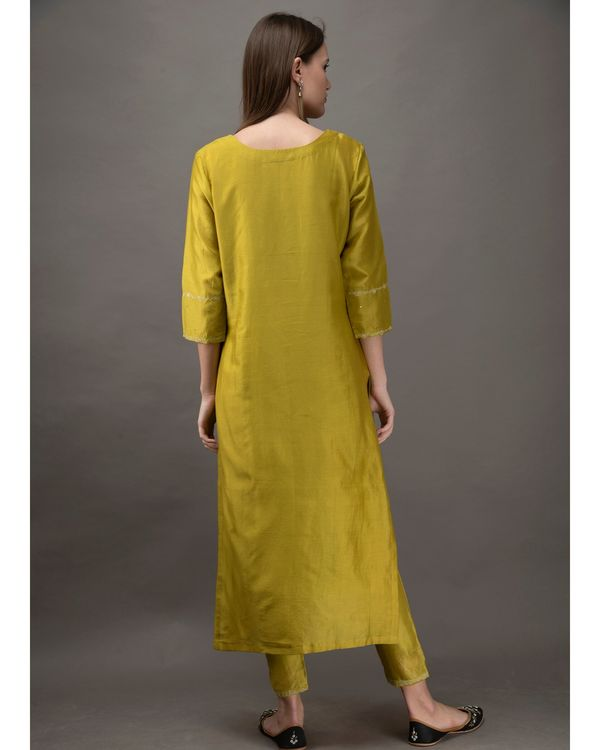 Lime green hand embroidered kurta with slip and chanderi pants- Set Of Three 4