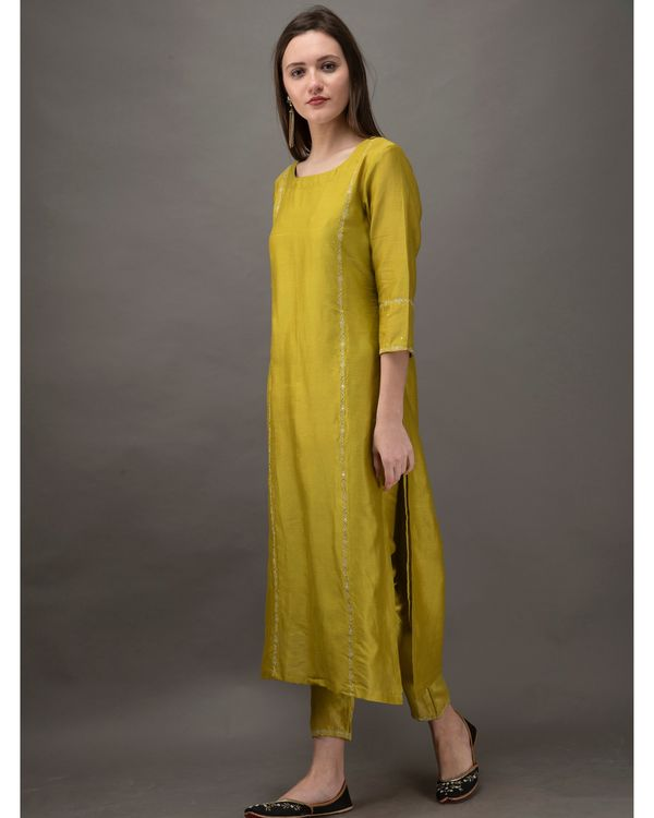 Lime green hand embroidered kurta with slip and chanderi pants- Set Of Three 2