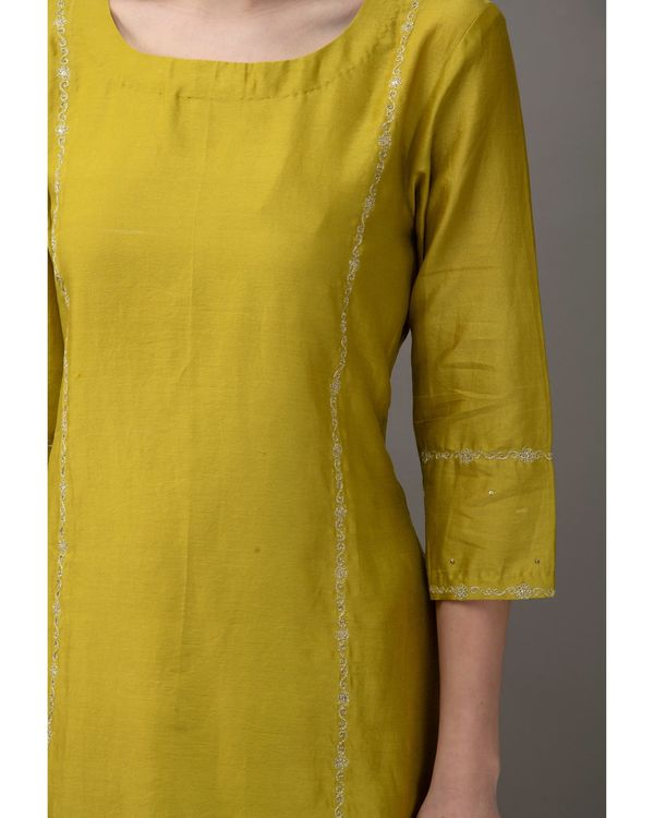 Lime green hand embroidered kurta with slip and chanderi pants- Set Of Three 1