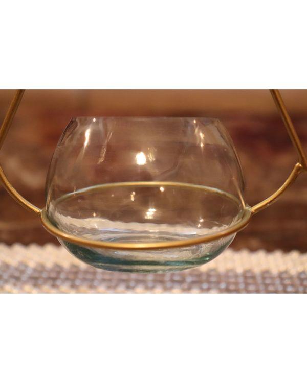Triangular metal tea light holder with glass vase- Set Of Two 1