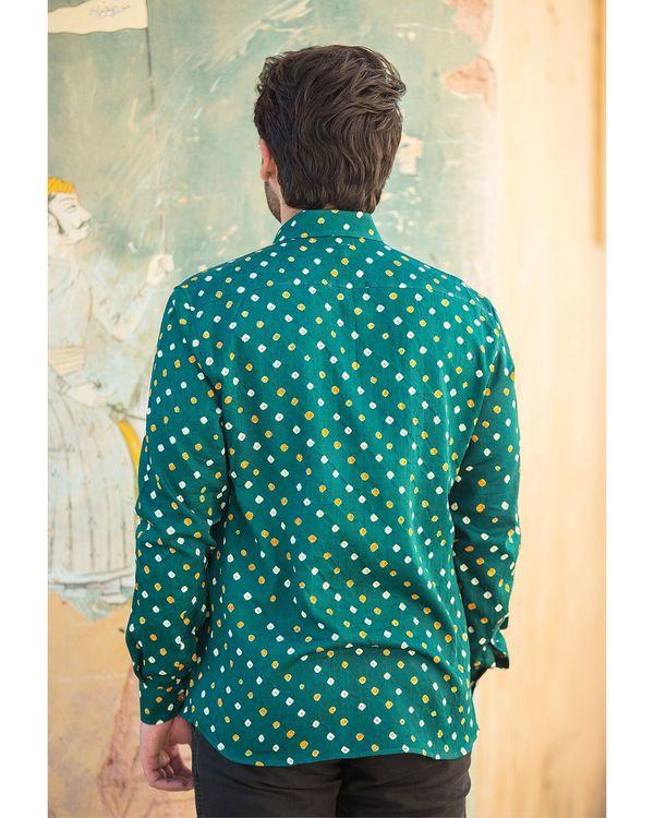 Green bandhani printed shirt 2