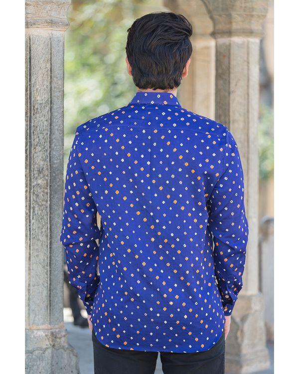 Blue bandhani printed shirt 2