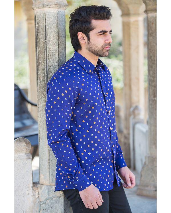 Blue bandhani printed shirt 1
