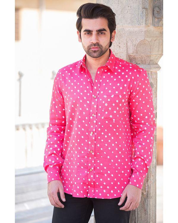 Pink bandhani printed shirt 1
