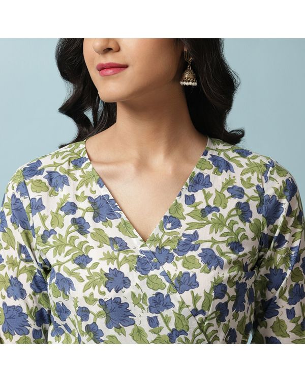 Blue floral angrakha and palazzo- Set Of Two 1