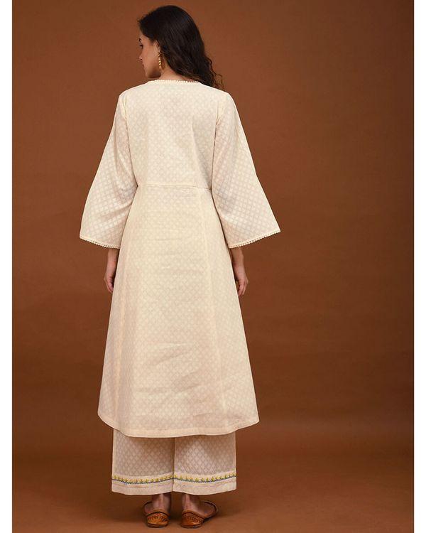 Off white hand embroidered angrakha kurta 3