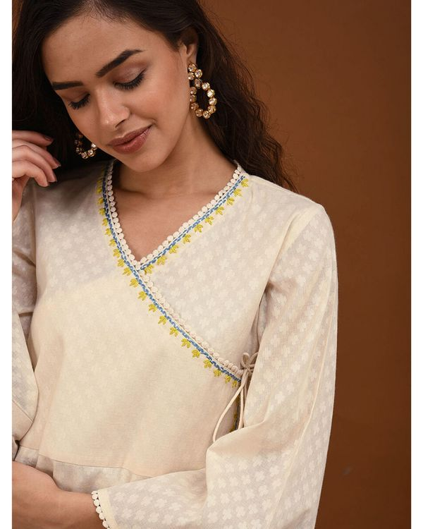 Off white hand embroidered angrakha kurta 1