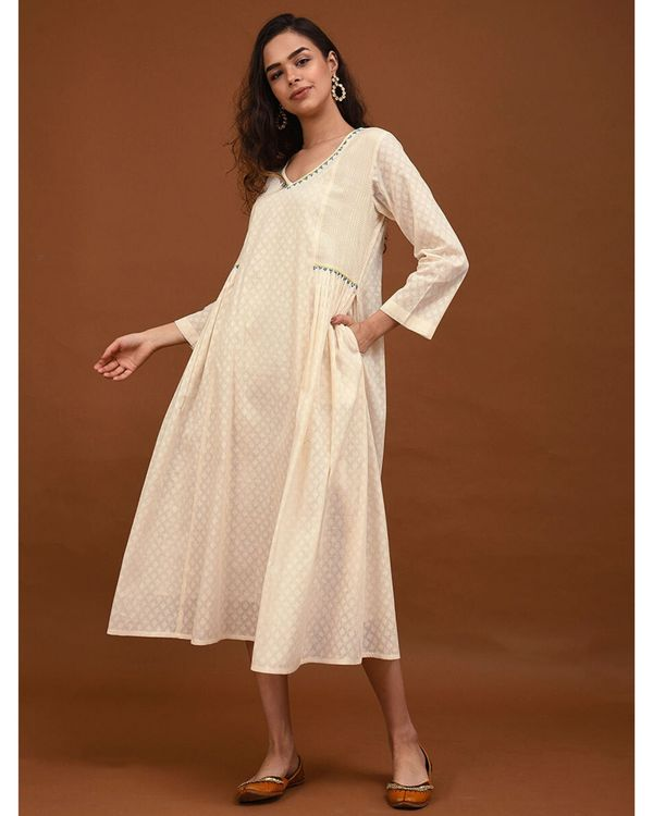 Off white hand embroidered gathers dress 2
