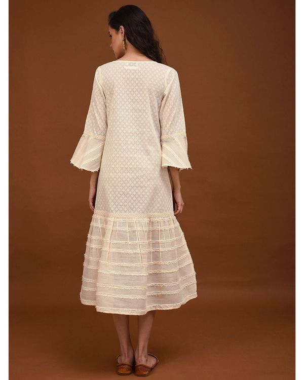 Off white hand embroidered paneled dress 3