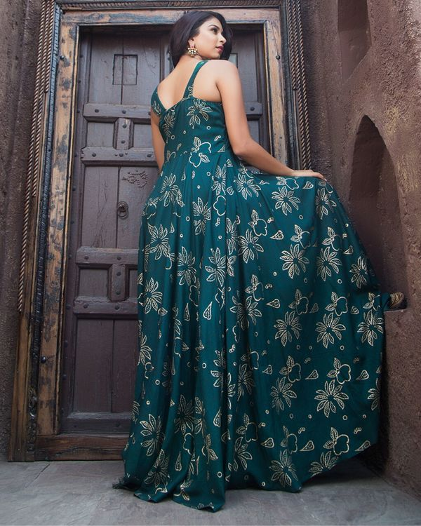 Dark green and gold foil printed dress 2