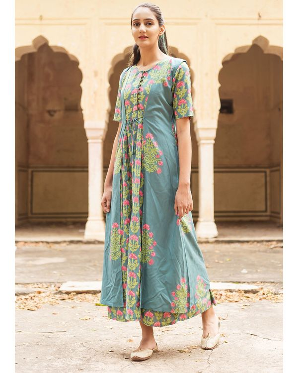 Cement blue floral printed jacket and inner dress- Set Of Two 2