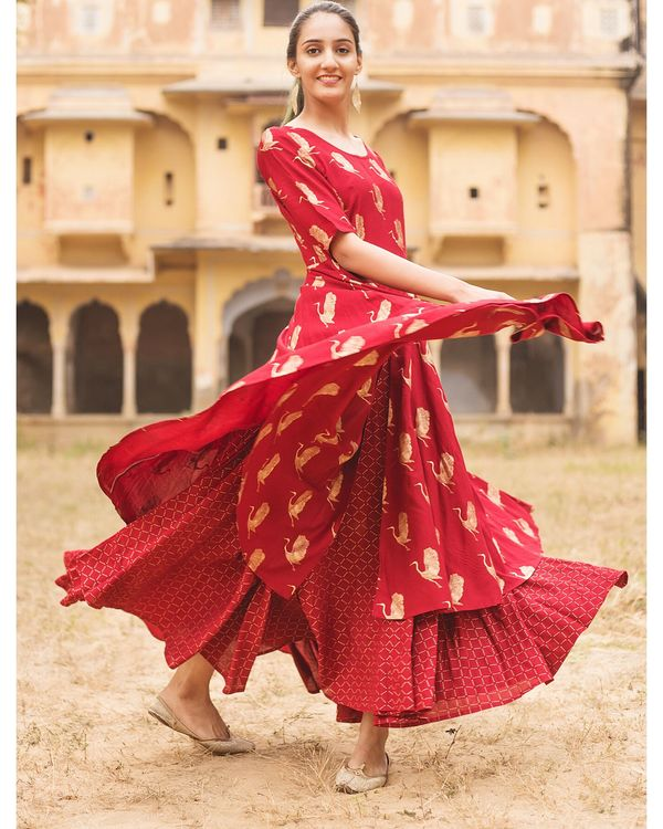 Red flamingo layered dress 2