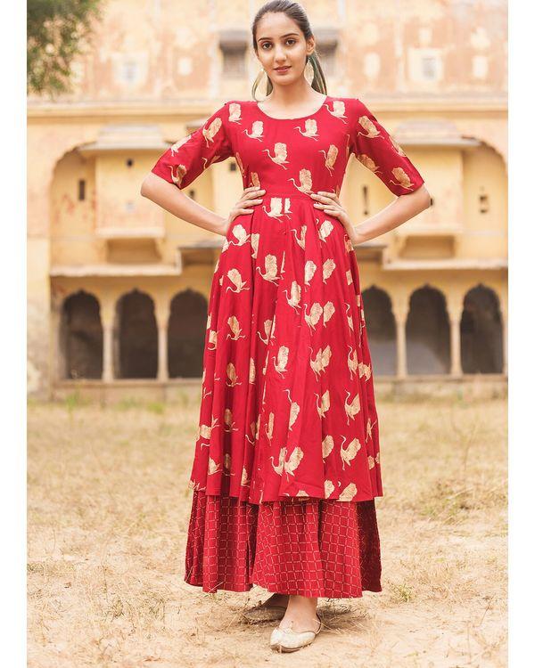 Red flamingo layered dress 1