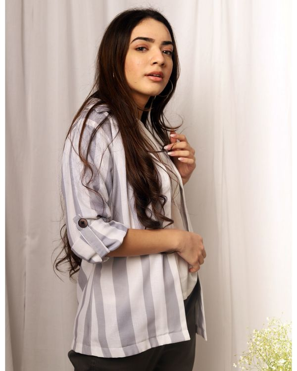 Grey and white striped flap sleeve jacket 1