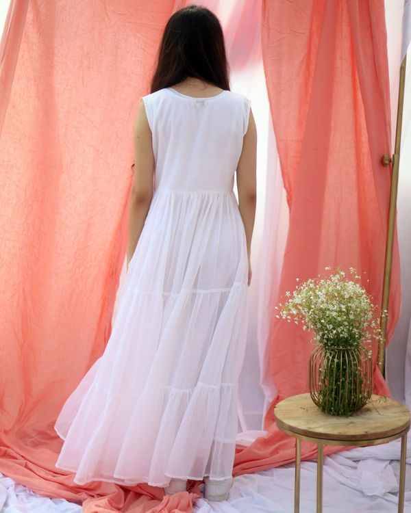 White gathered tier dress with inner slip- Set Of Two 3