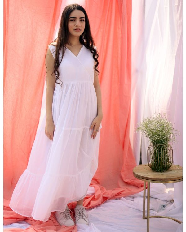 White gathered tier dress with inner slip- Set Of Two 1