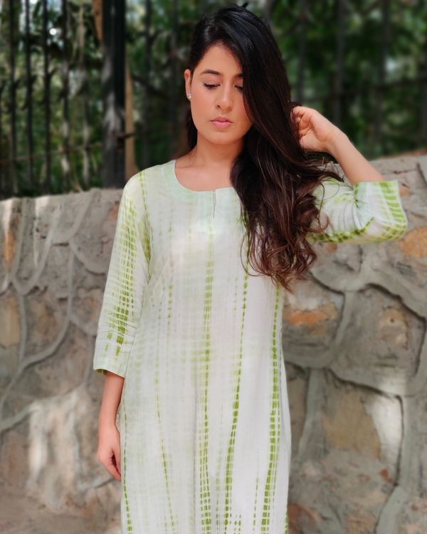 Green and off white tie and dye kurta and palazzo- Set Of Two 1