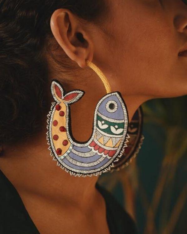 Madhubani fish motif earring 1