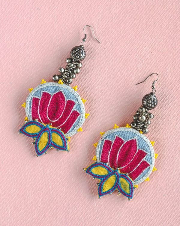 Pink and blue lotus embroidered and beads earring 1
