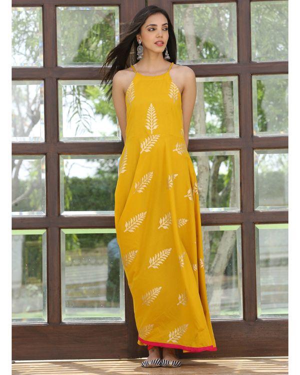 Mango yellow halter maxi dress 2
