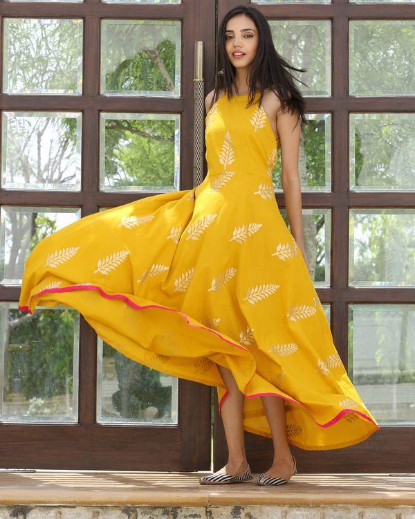 Mango yellow halter maxi dress 1