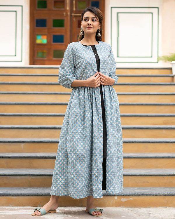 Light blue printed jacket with sequined kurta and pants- Set Of Three 3