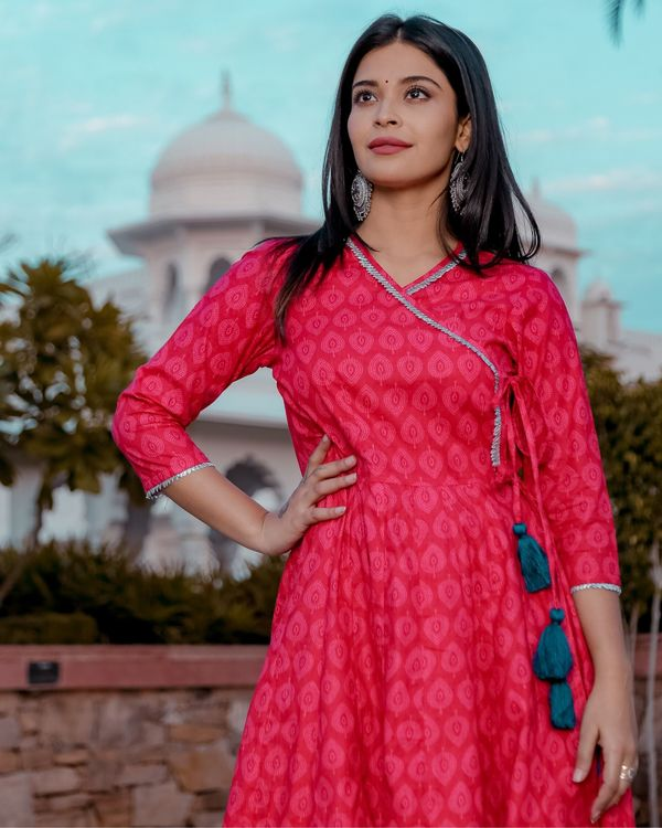 Pink printed angrakha kurta and palazzo- Set Of Two 1