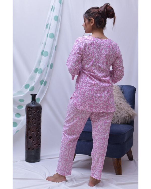 Pink hand block printed top and pants- Set Of Two 2